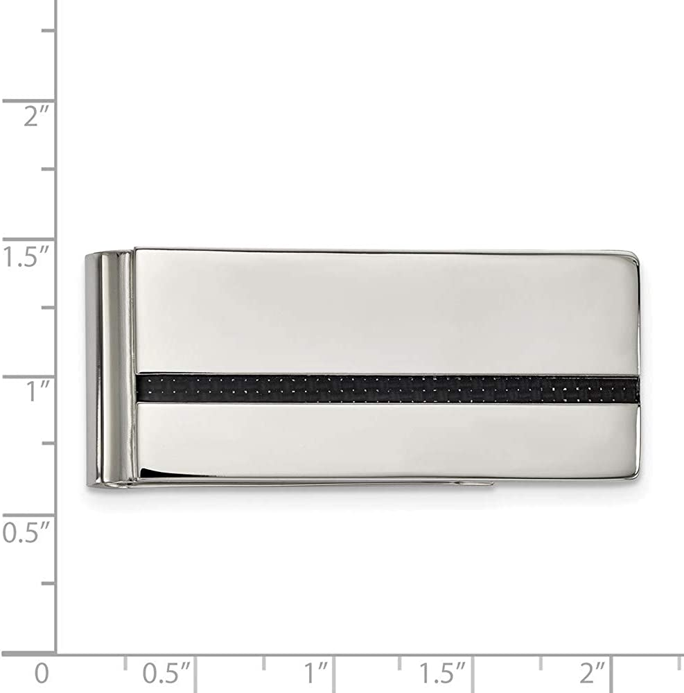 Chisel Stainless Steel Polished Black Carbon Fiber Inlay Money Clip SRM189