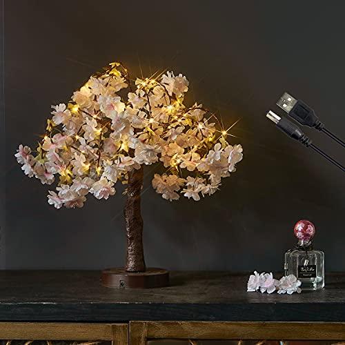 Hairui さくら ライト イルミネーション 造花 ツリー 40LED 桜 フラワー 光るお花 電池式 USB駆動 タイマー付き おしゃれ