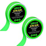 2 Pack of Glow in The Dark Tape - 30 ft x 1 inch - Glow-in-The-Dark Luminous Photoluminescent Luminescent Emergency Roll Safety Egress Markers Stairs, Walls, Steps, Exit Sign