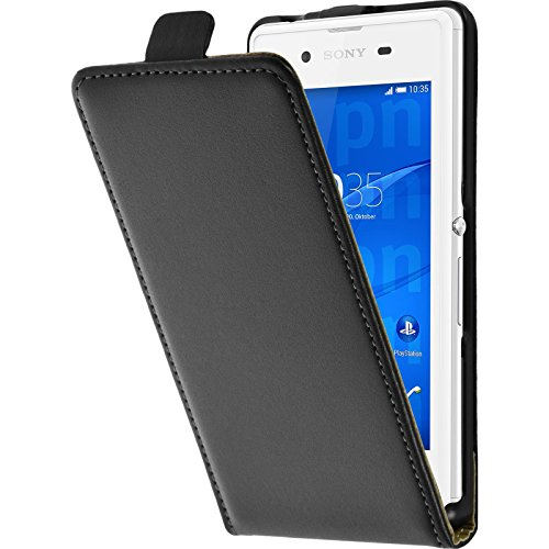 PhoneNatic Kunst-Lederhülle kompatibel mit Sony Xperia E3 - Flip-Hülle schwarz + 2 Schutzfolien