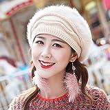 SED Sombrero De Mujer Sombrero De Invierno De Invierno Sombrero De Color Sólido Hembra Marca De Sombrero De Punto Grueso Cálido para Mantener Caliente,Pulir,como se Muestra