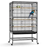 【SOLID AND DURABLE MATERIAL】 - Bird cage is made from thick, wrought iron. The sturdy metal frame construction is coated with spray powder paint that improves wear and corrosion resistance. The product does not contain any sharp edges that might hurt...