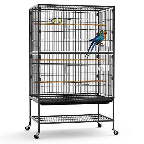 YINTATECH 52-inch Wrought Iron Large Flight Bird Cage with Rolling Stand for Parakeet, Canary, Finch, Lovebird, Parrotlet, Conure, Cockatiel