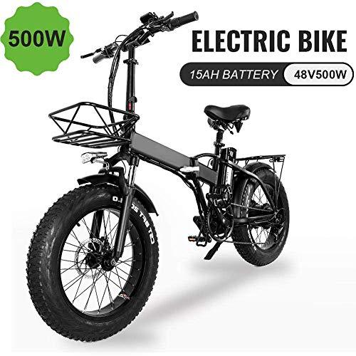 CXY-JOEL Bicicleta Eléctrica Plegable de 20 Pulgadas, Bicicleta Eléctrica con Neumáticos de Grasa 4.0 con Batería de Iones de Litio de 48V 500W 15Ah Y Asiento Trasero City Mountain Bicycle Booster
