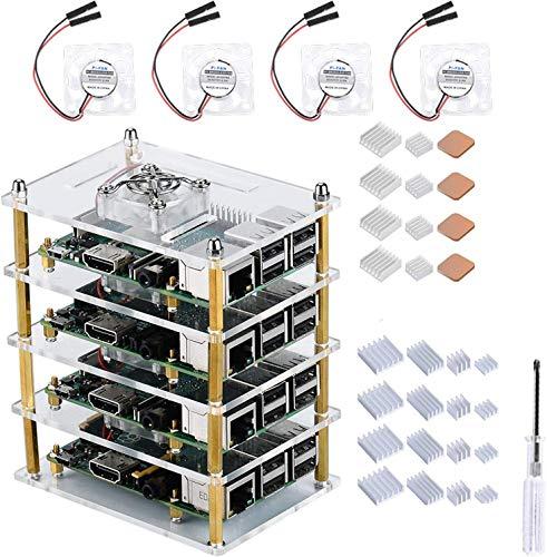 GeeekPi Raspberry Pi 4 Model B,Raspberry Pi 3 B + Caja con Ventilador de refrigeración y disipador de Calor, Caja de acrílico de 4 Capas Caja apilable Cluster Caja para Raspberry Pi 3/2 Modelo B