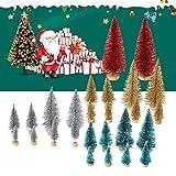 Cusfull 26 x Mini Weihnachtsbaum Tannenbaum mit Unterlage Christbaum Kiefern Glitzer Dekoration Weihnachten Ornamente Tischdeko Kinder Bastelarbeit DIY - 6