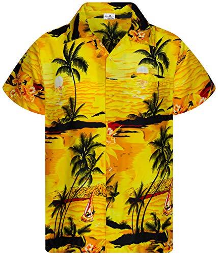 Funky Camicie Hawaiana Bambini Ragazzi Kids, Manica Corta, Print Surf, Giallo, 12