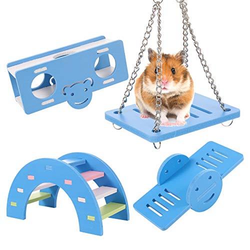 metagio Juego de 4 juguetes para masticar para hámsters, de madera, puente arcoíris, balancín, columpio, hámster, kit de juguetes para el aburrimiento y accesorios para mascotas pequeñas