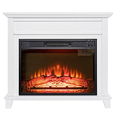 Golden Vantage 32  Freestanding White Wood Finish Electric Fireplace Stove Heater