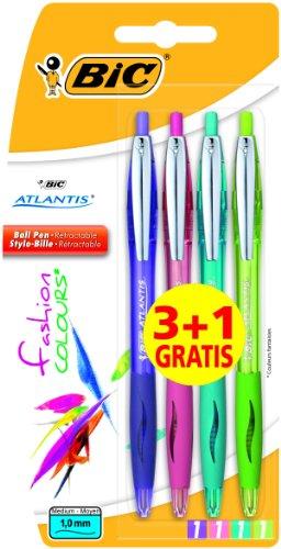 BiC Atlantis - Bolígrafos (punta retráctil, 4 unidades), color morado, rosa, verde menta y verde claro