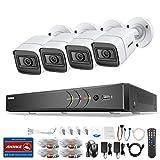 ANNKE Kit Sistema de Seguridad 8CH DVR Ultra HD 4K H.265+ y 4×4K HD Cámaras de vigilancia IP67 Impermeable Alerta por correo electrónico con instantáneas Acceso remoto-sin HDD