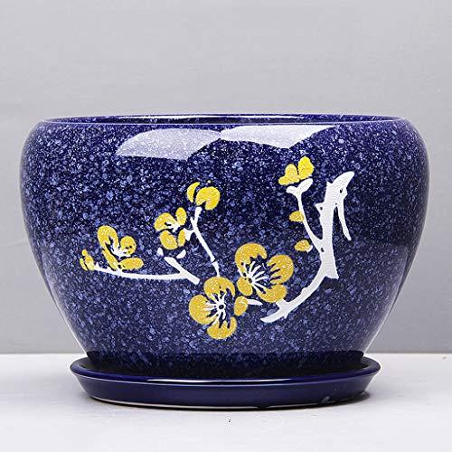 PLL Simple Pot De Fleur Dessin Coloré Fleur De Prunier Pot De Fleur Pot De Fleur en Céramique Balcon Extérieur Pot De Fleur Respirant (Size : XL)