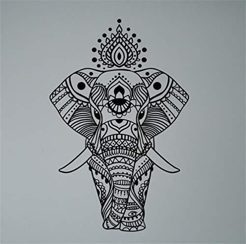 stickers muraux geants chambre adulte Mandala éléphant indien, motif ethnique, yoga, asiatique, pacifique, ornement, culture indienne