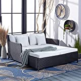 Safavieh PAT7500A Outdoor Collection Cadeo Black and White Cushion Daybed