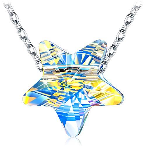 Kami Idea Collar de Plata 925 - Estrellas en el Cielo Noruego - Aurore Borealo Cristal, Collar para Mujer, Paquete de Regalo de Joyería