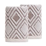 Pidada Hand Towels Set of 2 100% Cotton Diamond Pattern Highly Absorbent Soft Towel for Bathroom 13.4 x 29.5 Inch (Beige)