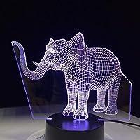 ライトラッキーエレファント7色変更ナイトランプLed 3Dテーブルライト寝室用スリーピングランプ家の装飾アートインテリアキッズギフト