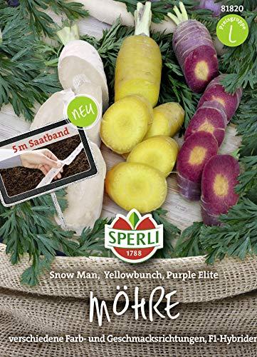 SPERLI Saatband mit 3 Sorten Möhren Sorten: Snowman, Purple Elite, YellowBunch 5m Saatband