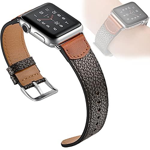 Compatible con Apple Watch SE Series 6 38 Mm 40 Mm 42 Mm 44 Mm, Correa De Repuesto De Cuero Genuino Correas Clásicas Hebilla Compatible con Iwatch 6/5/4/3/2/1,38mm/40mm