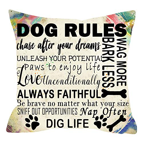 ITFRO Nice Animal Pet Dog Lover Gift Newspaper Texture Funny Dog Rules Cotton Linen Throw Pillow Case Cushion Cover Square 18x18 inches