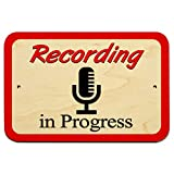 Recording in Progress Microphone 9' x 6' Wood Sign