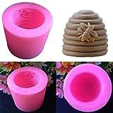 Auntwhale 3D Tornillo Colmena de Abeja jabón Molde moldes de Vela de Silicona 3D para jabón y Resina Molde