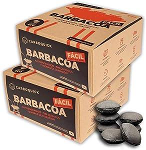 Briquetas de Carbón Vegetal para Barbacoa Ecológico y 100% Natural   Autoencendido Instantáneo sin Papel, Madera, Pastillas, Leña u Otros Encendedores convencionales   Fácil, Limpio y Cómodo (2 Pack)