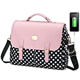 LOVEVOOK Laptop Bag for Women, Large Capacity Computer Bags Cute Shoulder Messenger Bag, Business Work Bags Tote Briefcase Purse Laptop Sleeve Case, 15.6inch, Pink Polka Pro