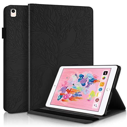 YKTO Funda Protectora de Cuero con Case Inteligente para Tableta de PU con Soporte, Portalápices, Ranuras para Tarjetas de Billetera para Despertador/Sueño Auto para iPad 5/6/8/9- Negro