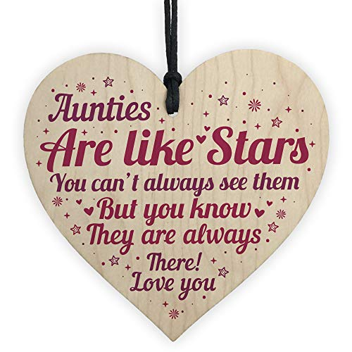RED OCEAN Sister Auntie Aunt Aunty Wooden Heart Plaque Sign Birthday Thank...