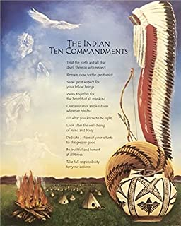 Unframed Print The Indian Ten Commandments, (Native American Indian Lady / 21-8X10-J) 8x10 Inch Unknown, Art Print & Poster