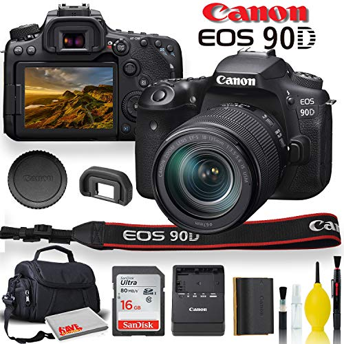 Canon EOS 90D DSLR Camera with 18-135mm Lens with Padded Case, Memory Card, and More - Starter Bundle Set -(International Model)