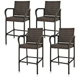 Wicker Barstool Outdoor Patio Furniture Bar Stools All Weather Rattan Chair w/ Armrest and Footrest for Garden Pool Lawn Porch Backyard, Set of 4