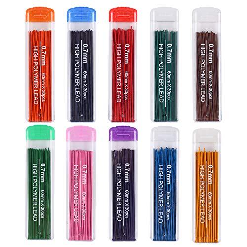 Gydandir 300 Pieces Color Lead Refills Colored Pencils Lead, 10 Color Set 0.7 mm HB