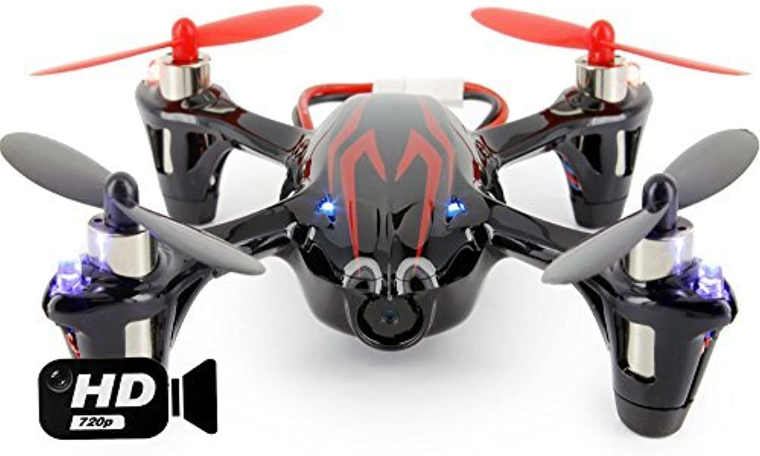 UPGRADED Hubsan X4 H107C with HD 2MP Camera 2.4Ghz 4CH 6 Axis Gyro RC Quadcopter Mode 2 RTF - rot schwarz by Hubsan