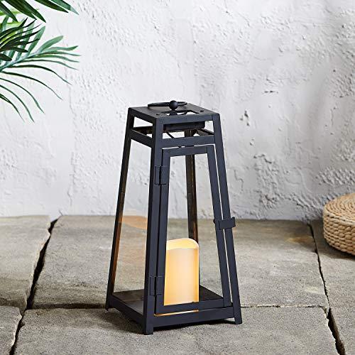 Lights4fun Lanterna Solare Trapezio in Metallo Nero di 36cm con LED Bianco Caldo per Esterni