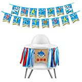 7 Colors Kids Baby Shark 1st Birthday Party Decoration Pack Includes 1 Baby High Chair Ribbon Banner and 1 Shark Baby Happy Birthday Banner Shark Themed First Birthday Party Supplies