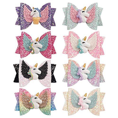 Glitter Unicorn Hair Bows For Girls Boutique 3in Hair Bows Alligator Clips For Girls Children Gift Set Of 8 (Hair Clip-1)