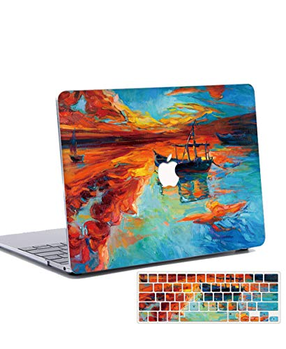 Macbook Air 13 inch Case 2020 2019 2018 Release with Keyboard Cover Plastic Hard Shell Case Cover for 13 inch MacBook Air Retina with Touch ID Model: A2179/A1932 - landscape