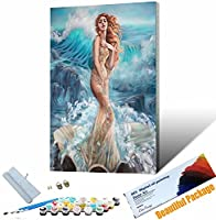 DIY 数字油絵 キャンバスの油絵 美しい少女por 大人の子供のためのギフト 数字キット ト ホームデコレ 30x45cm フレームレス