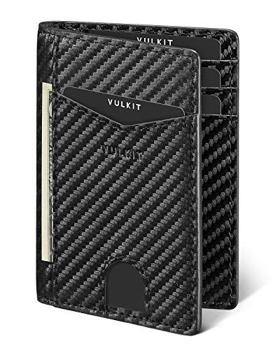 VULKIT Cartera Tarjetero Minimalista Hombre RFID Bloqueo Delgado Tarjeteros para Tarjetas de Credito Cuero con 10 Compartimentos para Tarjetas y Billetes - Fibra de Carbon