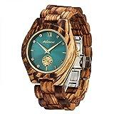 Wooden Watches for Women, shifenmei Wooden Watches Handmade Elegant Rhinestones Analog Quartz Adjustable