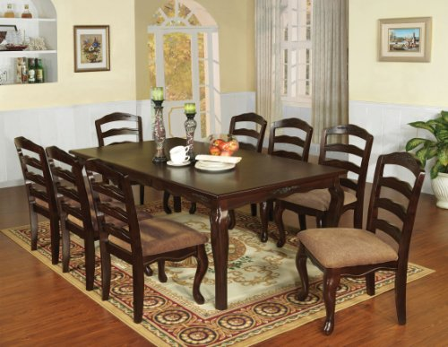 Furniture of America Kathryn 9-Piece Classic Style Dining Table Set with 18' Expandable Leaf, Dark Walnut