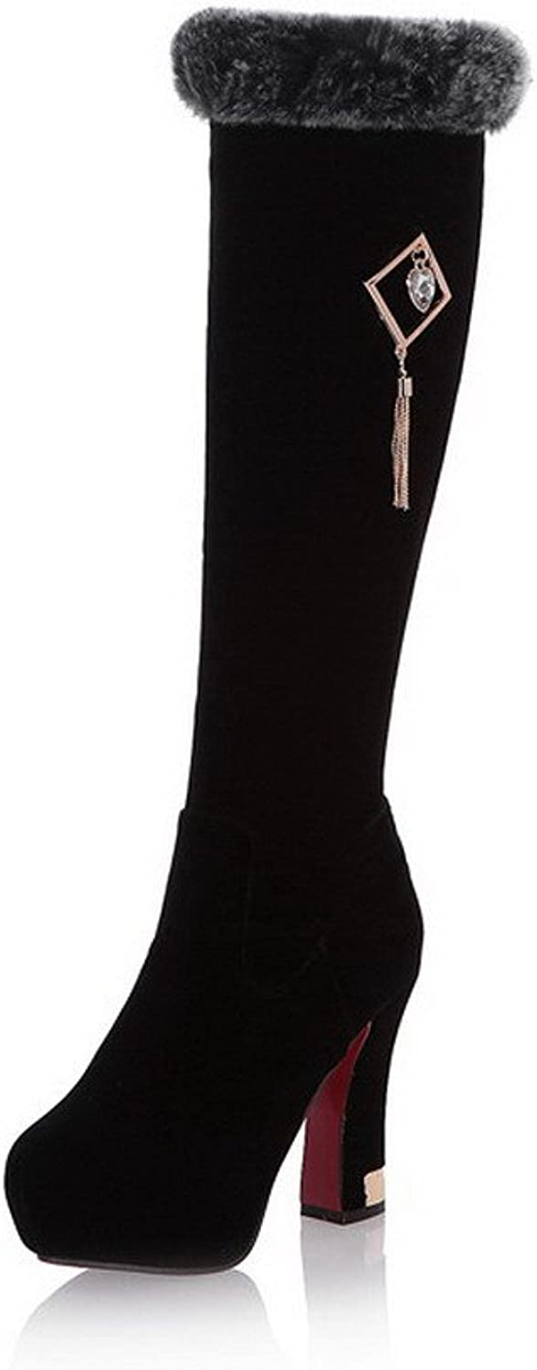 WeenFashion Women's Zipper Round Closed Toe Frosted Imitated Suede Knee-high Boots