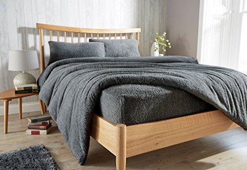 Gaveno Cavailia Teddy Fleece Luxurious Duvet Cover Sets Super Soft Warm and Cosy Bedding Sets (Charcoal, Double Duvet Set)