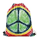 TSVAGA Green Rasta Peace Sign Tie-Dye Drawstring Backpack Gym Bags for Men Women Boys Girls Sports Yoga Hiking Traveling Beach Swimming Cinch Sack Ultra-light Shoulder Bag Teenagers