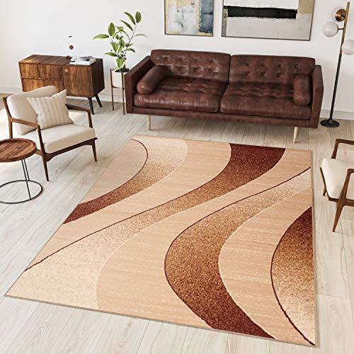 Tapiso Alfombra De Salón Moderna – Color Beige Diseño Rayas – Varias Dimensiones S-XXXL 140 x 200 cm