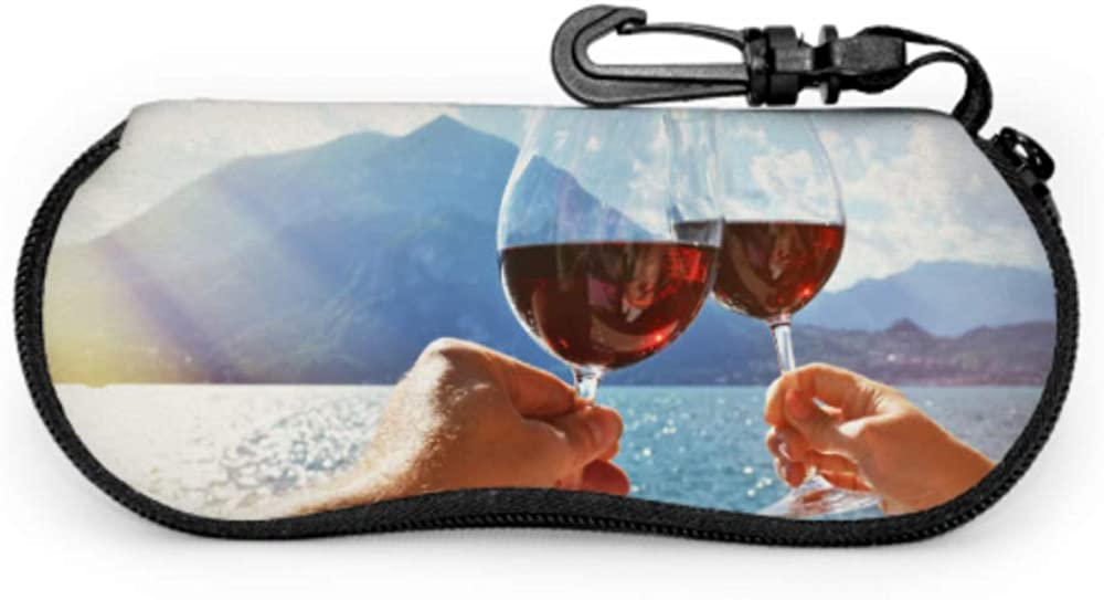 Cheers With Two Glasses In Hand Eyeglass Zipper Case Soft Zippered Eyeglass Case Light Portable Neoprene Zipper Soft Case Sunglasses Case Kids