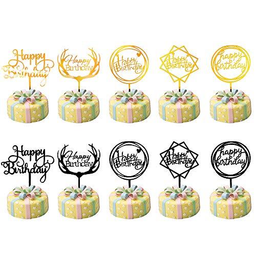 Slowton Topper Pastel, 10 Piezes Topper Pastel De Cumpleaños, Oro Negro Happy Birthday Cupcake Cake Topper, Suministros De DecoraciÓN De Pasteles De Fiesta De Cumpleaños (Negro...