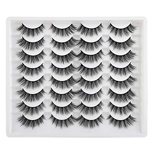 JIMIRE 16 Pairs False Eyelashes Fluffy Natural Fake Lashes 3D Volume Lashes Pack for Cat-Eye Look